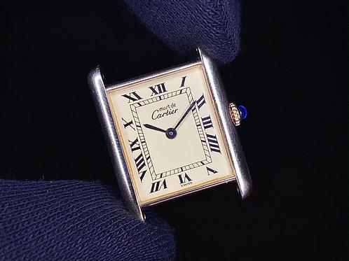 1990s Must De Cartier Tank Vermeil manual wind watch silver gilt case, ETA 2512