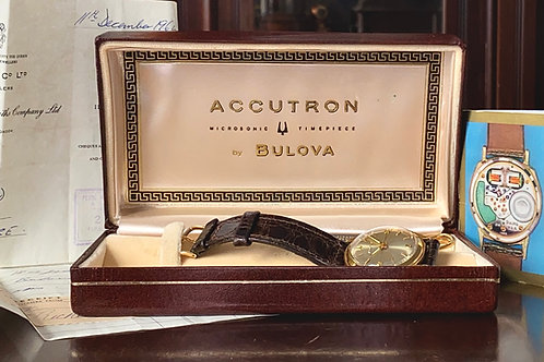 RARE FULL SET, 1960s Bulova Accutron 18ct Gold dress watch with 214 movement