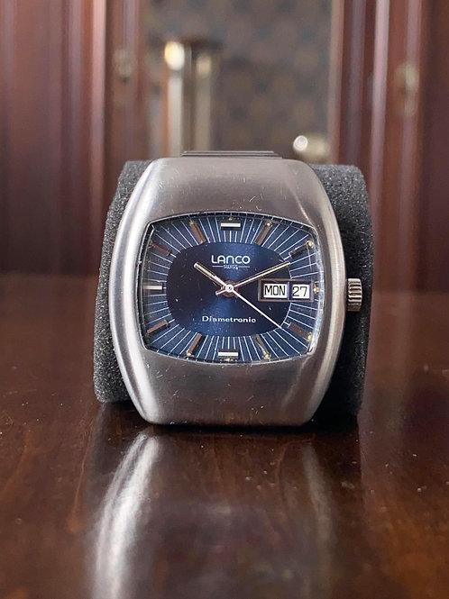 1970s Lanco Diametronic Electronic watch day/date, Stainless Steel, ETA-ESA 9158