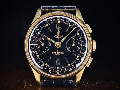 1950s black dial Dreffa Geneve Chronograph watch, rose gold plated, Valjoux 92