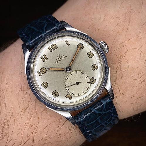 1940s Early Auto Omega watch 2375, Bumper automatic 28.10 RA SC, Radium numerals