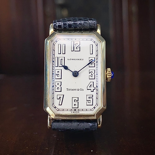 1920s Art Deco Longines Tiffany & Co signed 14ct gold tank watch, serviced