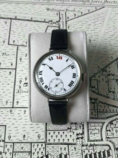 Solid Silver Trench watch with Roman Numerals, handwind, 1924, G.S. Sponsor mark