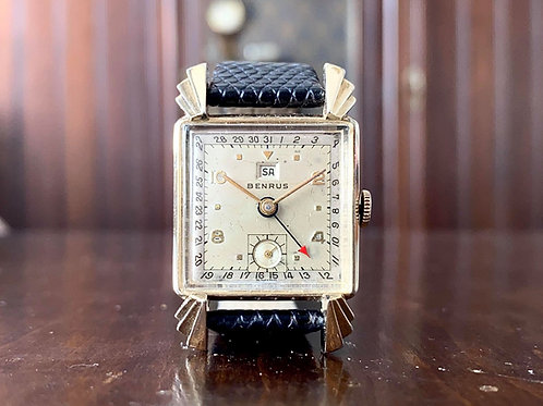 Benrus Triple Date pointing art deco style watch, 17 jewel Model CK2, 10k GF