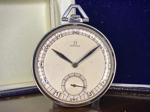 1933 Slim Art Deco Omega Pocket Watch, 18S Stainless Steel Case, 37.5L-15