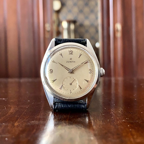 1959 Zenith dress watch, stainless 36mm case, cal. 126-6 movement, Arabic 9,12,3