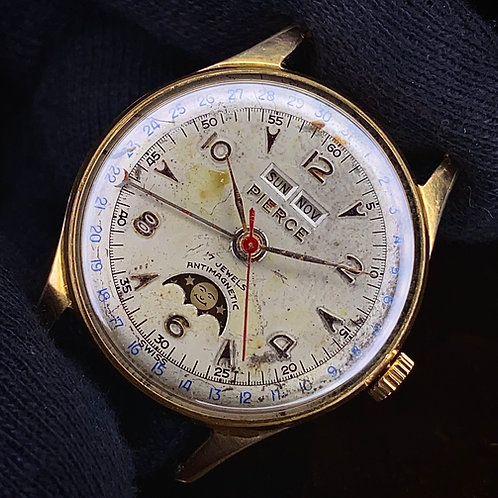1950s Pierce triple date pointing moonphase watch, cal 103 serviced