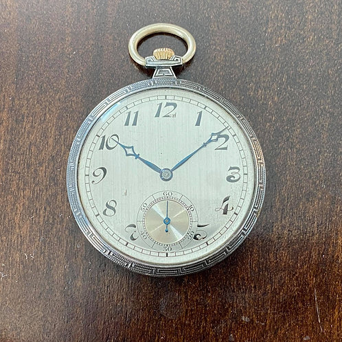 1924 Silver pocket watch, very thin, Carley & Clemence Ltd case Huguenin Freres