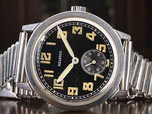 1940s Helbros WW2 military style watch USA, 82A-28 movement Helvetia, Serviced