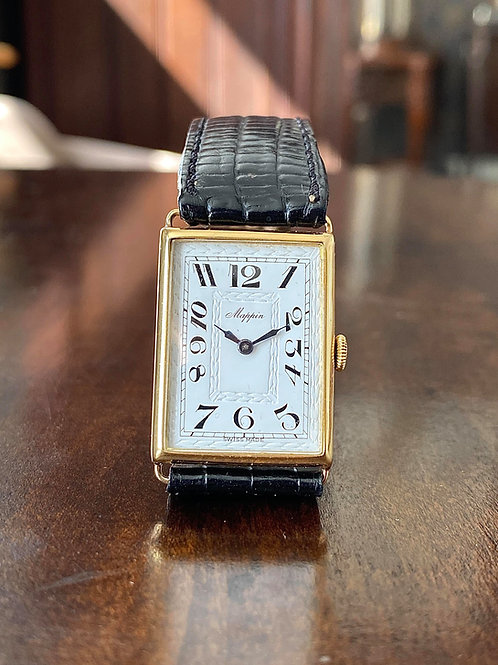 Art Deco 18ct gold Mappin rectangular dress watch, Beautiful dial, engraved case