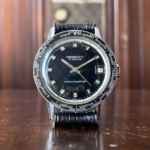 1960's Regency watch with world time bezel GMT 2054 U Tropicalized , manual wind