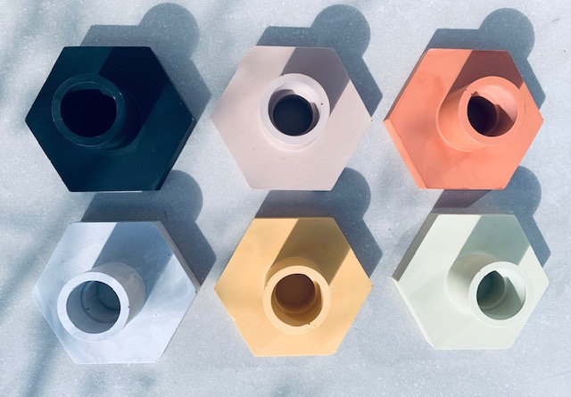 Hexagonal Candle Holder - Various Colours