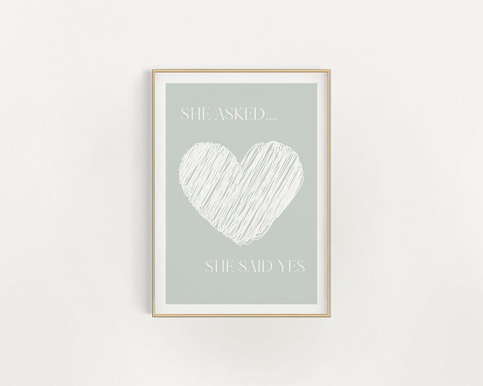 She asked..Green and White Heart Print