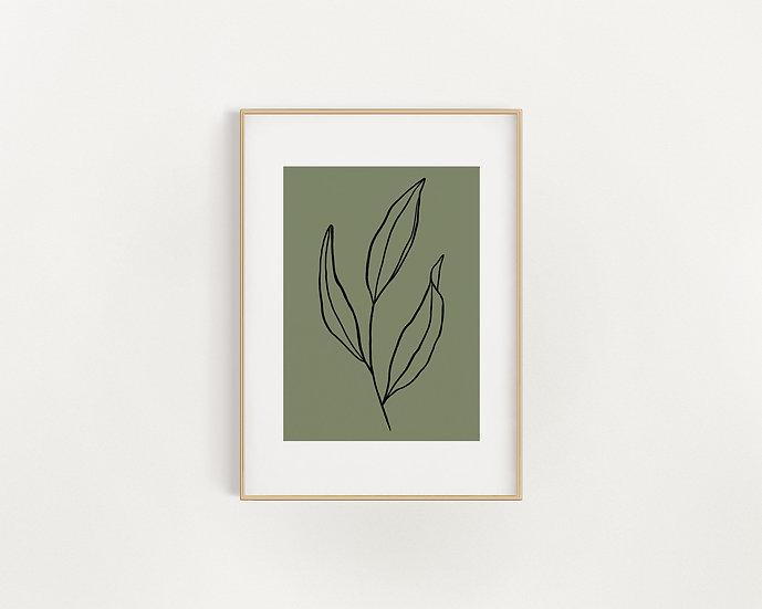 Green/Black Leaf Print