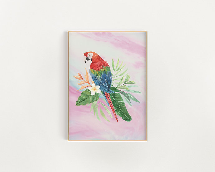 Who's A Pretty Parrot? Marble Print