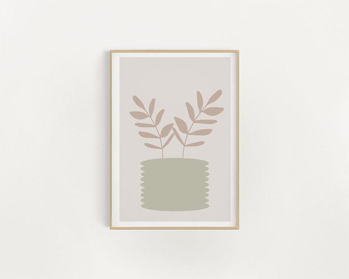 Beige and Green Vase Print