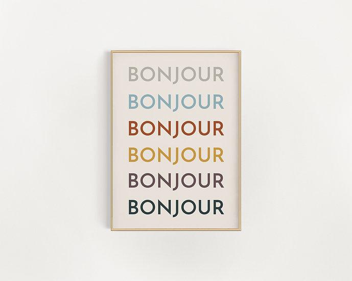 Bonjour Bonjour Typography Poster