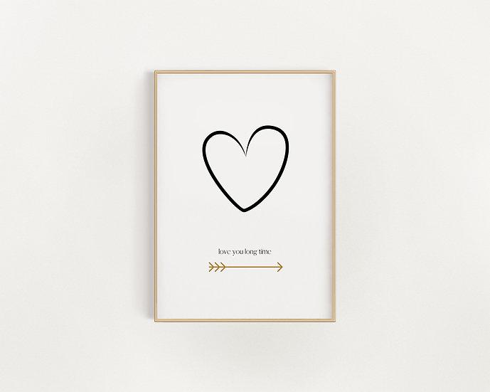 Love You Long Time - Heart Print
