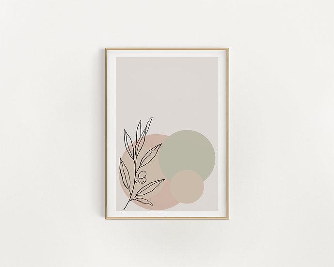 Beige Aesthetic Line Leaf Print