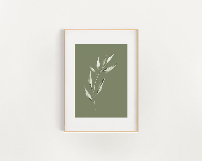 Green/White Leaf Print