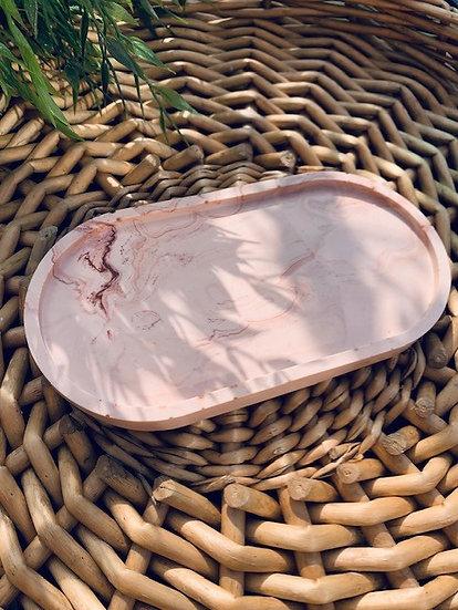 Terracotta Marble Trinket Tray -Oval