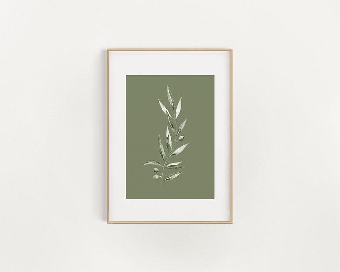 Green/White Olive Leaf Print