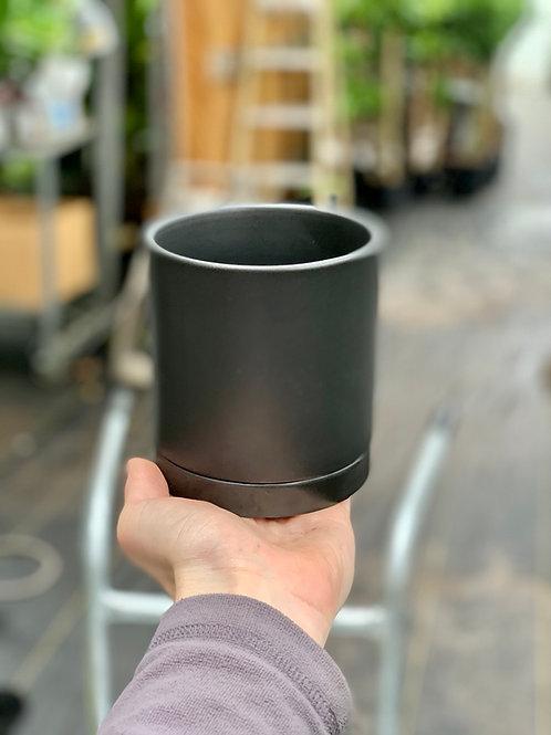"4"" Romey Black Ceramic Pot w/Saucer"
