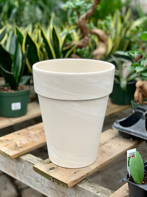 "8.5"" Tall White Granite Clay Pot"