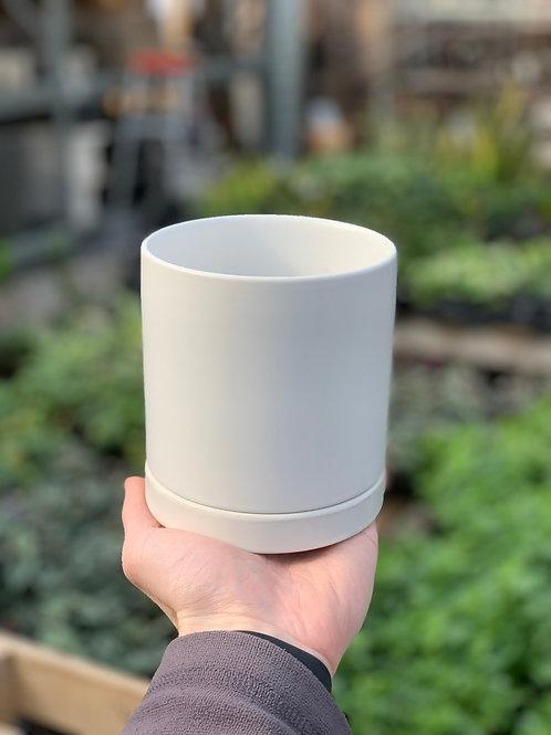 "4"" Romey White Ceramic Pot w/Saucer"