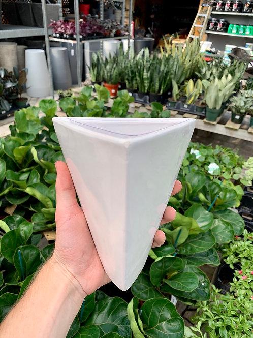 "5"" Triangular White Ceramic Wall Planter"