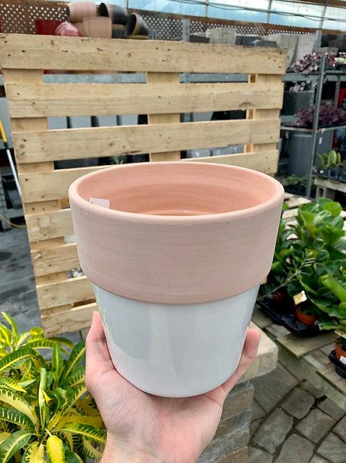 """6.5"""" Lissabon Round Terracotta + White Ceramic Base Pot"""