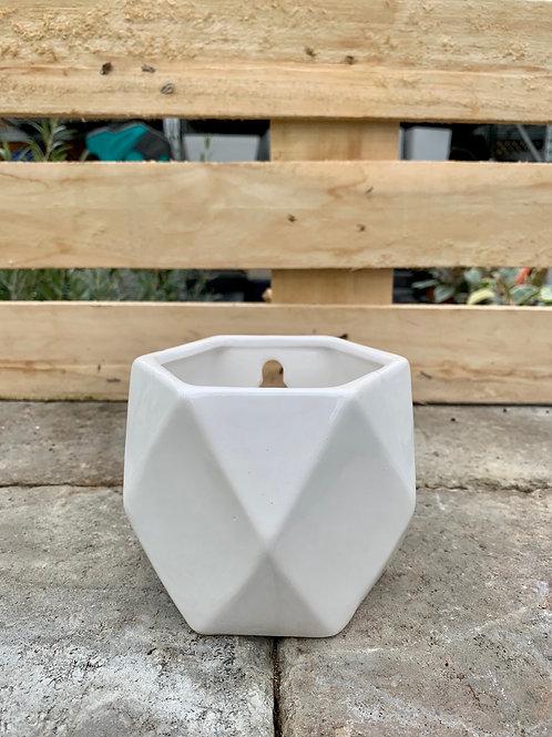 "3.5"" Milos Ceramic White Wall Planter"