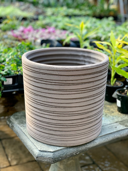 "10"" Pilone Rigato Lined Brown Clay Pot"