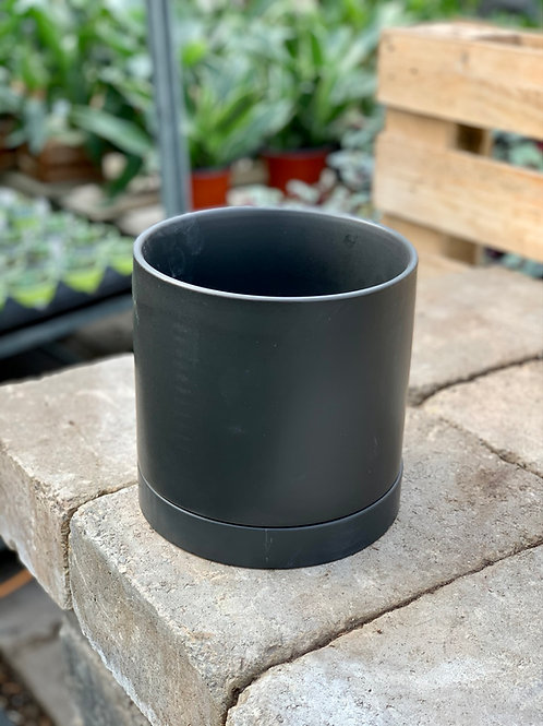 "6.5"" Romey Black Ceramic Pot w/Saucer"