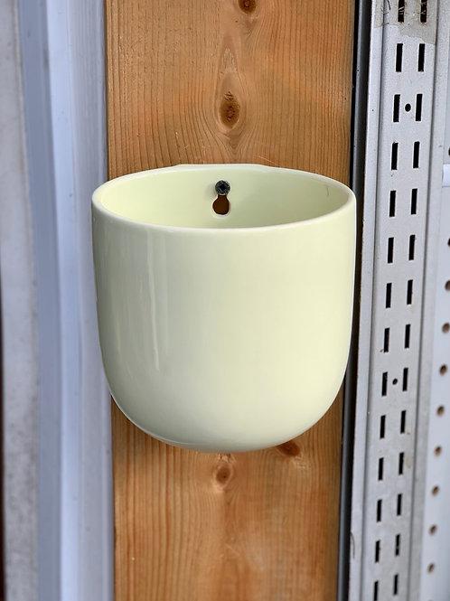 "4.5"" Cream Ceramic Wall Planter"