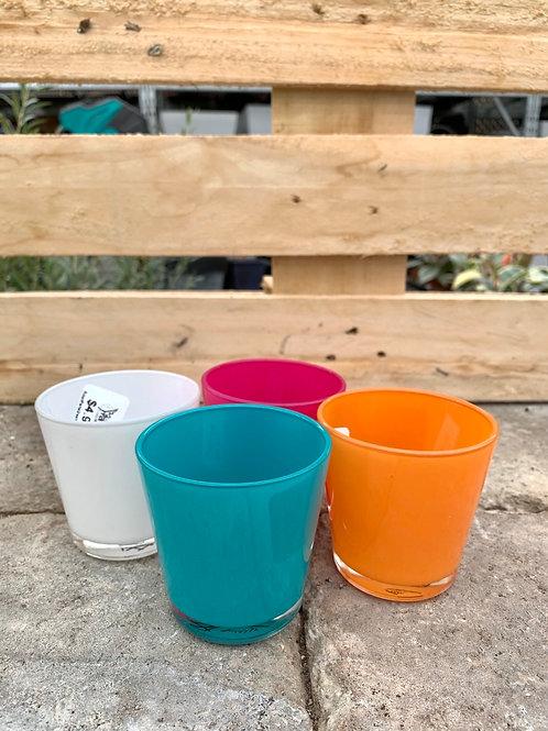 "2.5"" Scandinavia Glass Colored Pots"