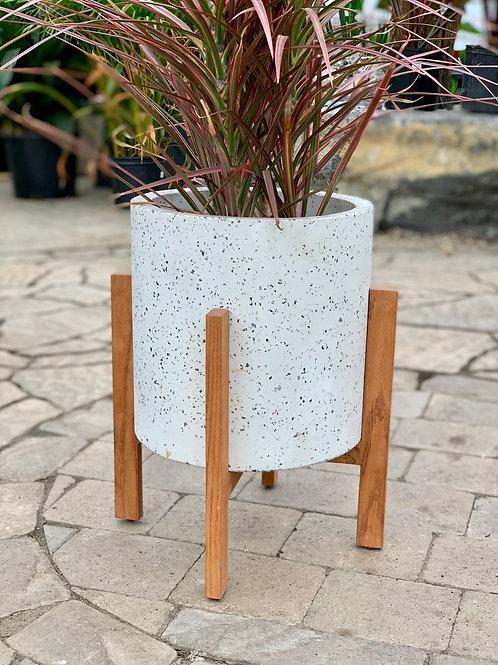 """10"""" Dale Concrete Pot & Wood Plant Stand"""