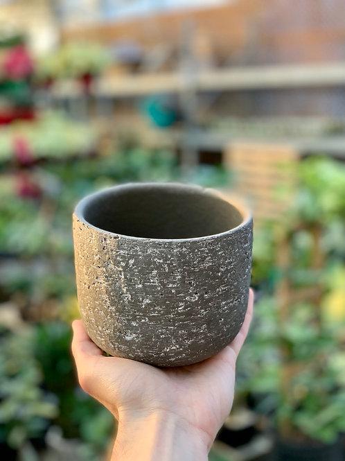 """5"""" Portland Dark Grey Stone Pot"""