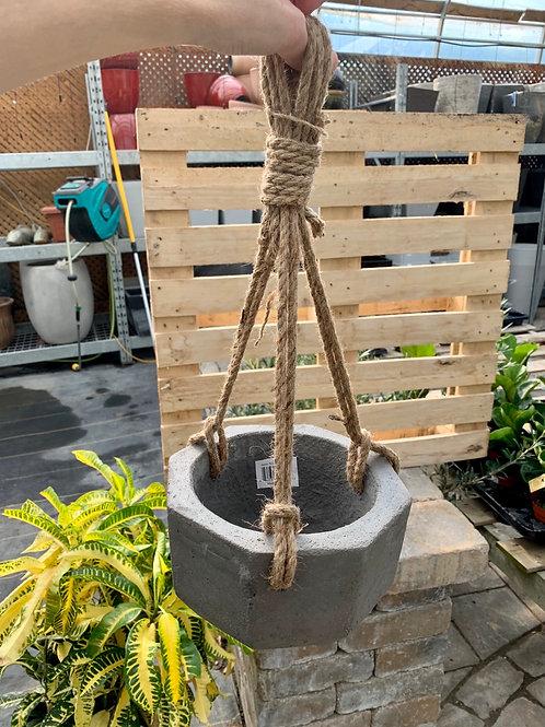 "7"" Octogonal Charcoal Stone Hanging Planter"