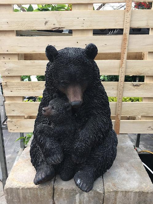 Black Bear Mother & Child Hugging - Large