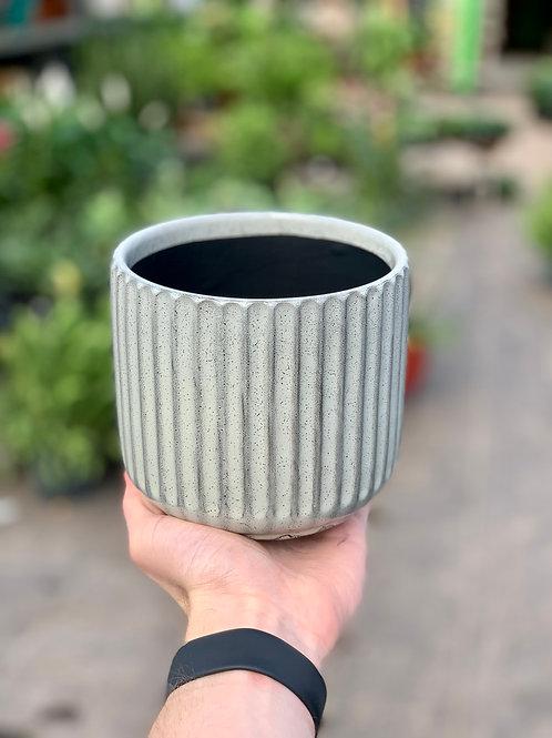 """5"""" Beatrice Rib Olive Gold Ceramic Pot"""