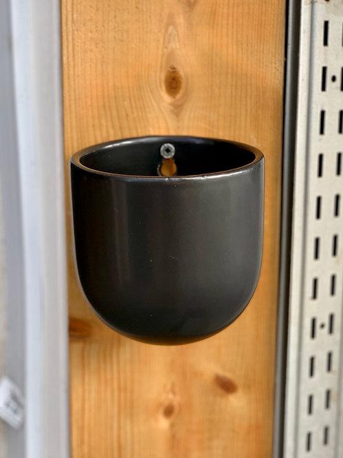 "3.5"" Black Ceramic Wall Planter"