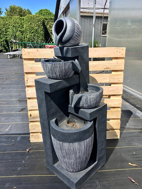 Water Fountain 4 Level Grey-White Lined Pots