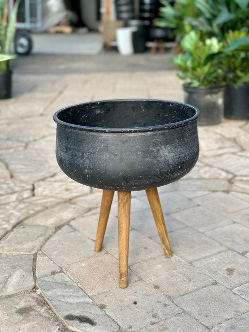 """13"""" Black Cauldron on Wood Legs"""