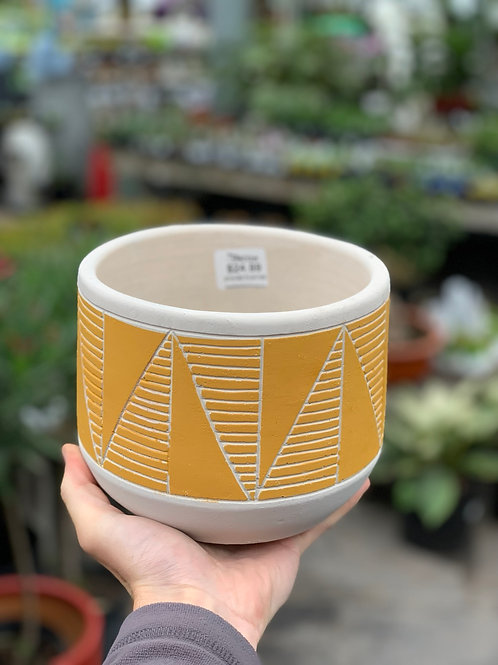 """6"""" Etched Yellow Pot"""
