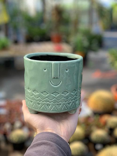 "4"" Teal Happy Face Pot"