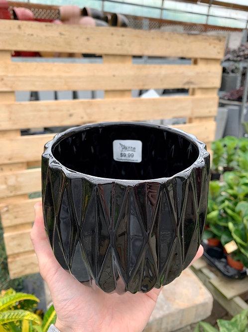 """5"""" Sorrento Black Ceramic Pot"""