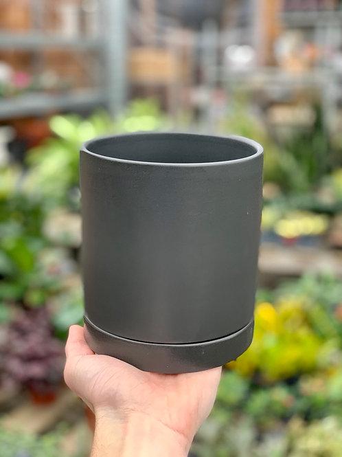 "5"" Romey Black Ceramic Pot w/Saucer"