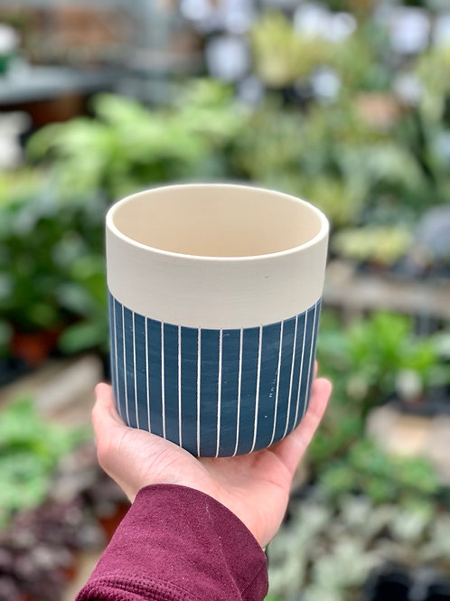 "4.75"" Westview Pot - Blue with White Lines"