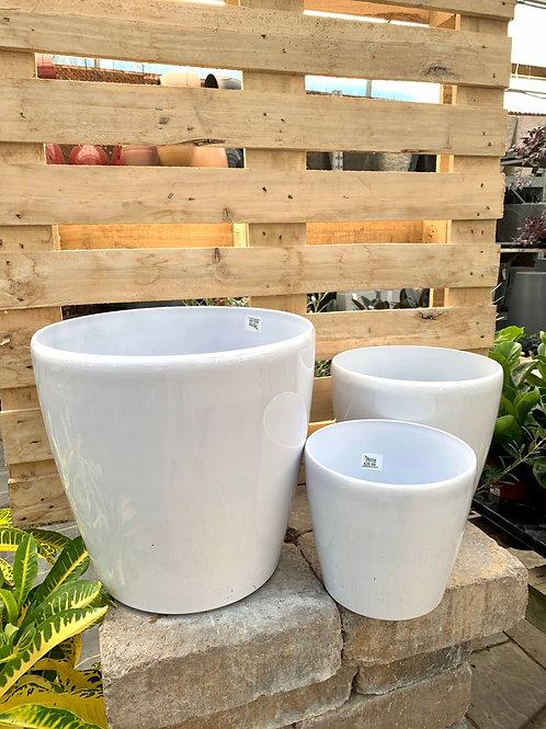 Klassier Modern White Hard Plastic Pots